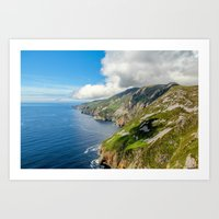 league Art Prints featuring Slieve League  by DGPhoto
