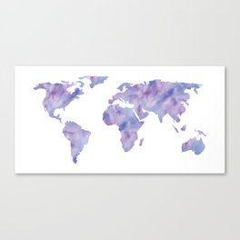 World Map Light Blue Purple Indigo Canvas Print