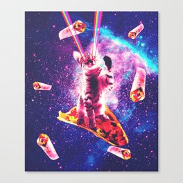 Outer Space Taco Cat - Rainbow Laser Eyes, Burrito Canvas Print