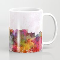oakland Mugs featuring Oakland skyline in watercolor background by Paulrommer