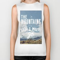 the mountains are calling Biker Tanks featuring The Mountains are calling by Hillary Murphy