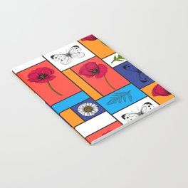 Poppies in colorful boxes Notebook