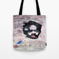 banksy Tote Bags featuring C'EST CI N'EST PAS BANKSY  by Lazara Rosell Albear