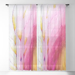 Feathered, Watercolor and Ink Sheer Curtain