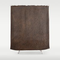 leather Shower Curtains featuring Brown Leather by gypsykissphotography