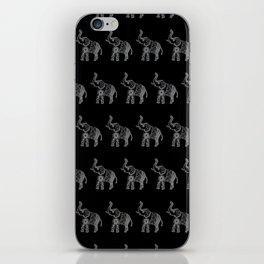 Boho Elephant Doodle in Black and White, Zentangle, Mehndi Style. iPhone Skin