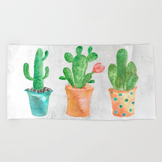 Three Green Cacti Watercolor White Beach Towel
