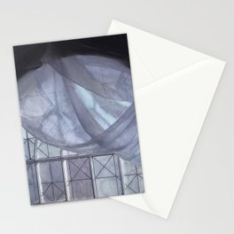 Blue Curtain in an Arched Window Stationery Cards