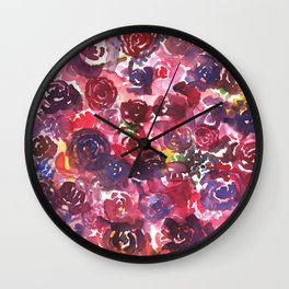 Muddled Roses Wall Clock