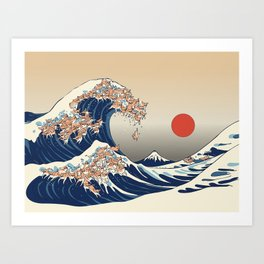 The Great Wave of Chihuahua Art Print