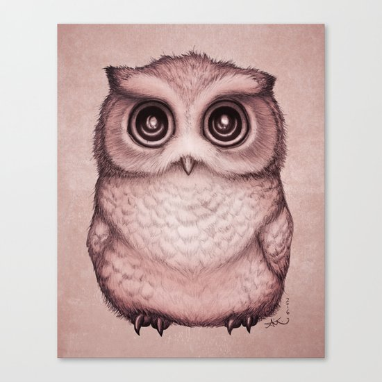 """The Little Owl"" by Amber Marine ~ (Peach Fuzz Version) Graphite & Ink Illustration, (c) 2016 Canvas Print"