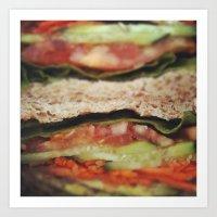 vegetarian Art Prints featuring Vegetarian Sandwich by Tianna Chantal