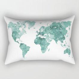 World map in watercolor green Rectangular Pillow