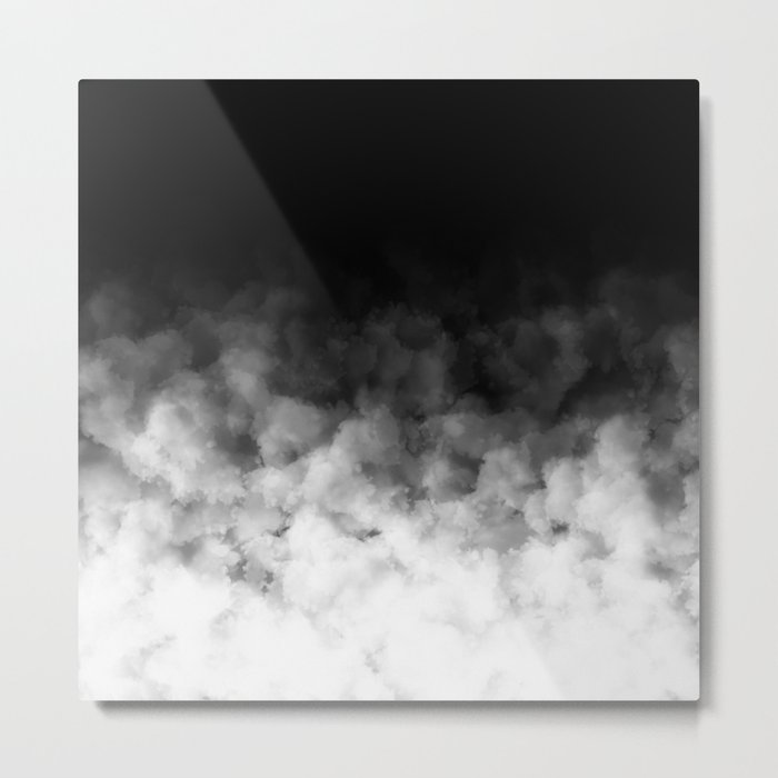 Ombre Black White Clouds Minimal Metal Print