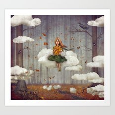 The little  girl sits on a cloud  in   autumn forest Art Print