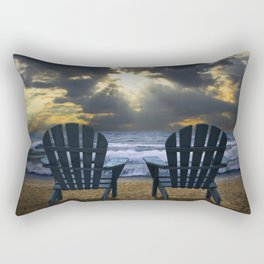 Two Adirondack Deck Chairs on the Beach with Waves crashing on the Shore Rectangular Pillow