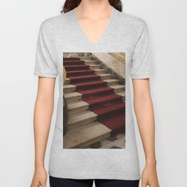 Stairs with red carpet Unisex V-Neck