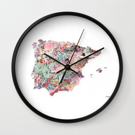 Spain map flowers composition Wall Clock
