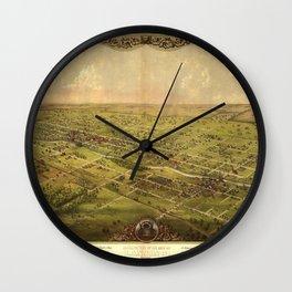Bird's Eye View of Lansing, Michigan (1866) Wall Clock