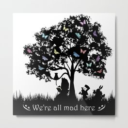We're All Mad Here III - Alice In Wonderland Silhouette Art Metal Print