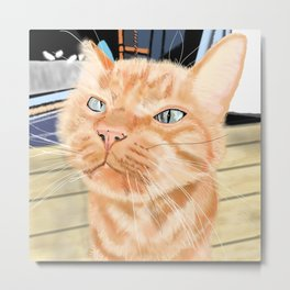 Sniffy Ginger Tabby Cat Metal Print
