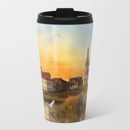 The Church of Elijah the prophet on mount Ivan in Suzdal. Evening landscape. The Golden Ring Of Russ Travel Mug