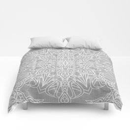 White Mandala on Grey Linen Comforters