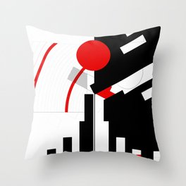 black and white meets red Version 16 Throw Pillow
