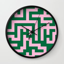 Cotton Candy Pink and Cadmium Green Labyrinth Wall Clock