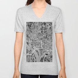 Washington DC City Street Map Unisex V-Neck