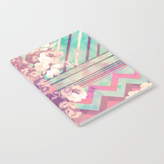 Retro Pink Turquoise Floral Stripe Chevron Pattern Notebook