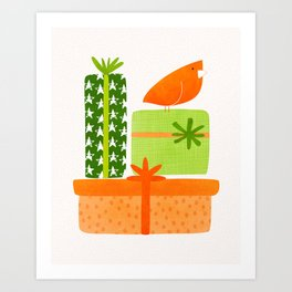 Bird With Gifts / Festive Scene Art Print