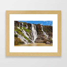 Long exposure of the beautiful Pongour waterfalls, Vietnam Framed Art Print