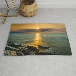 Coastal Landscape Photograph Sun Ray on the Water Beach Art Rug