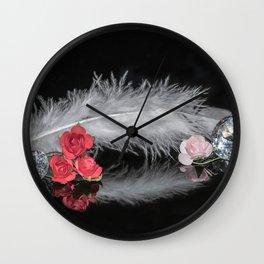 """Reflections"" - Diamonds, Feathers & Flowers Wall Clock"