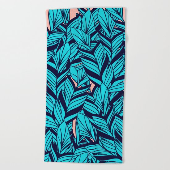 Blue Banana Leaf Pattern Beach Towel