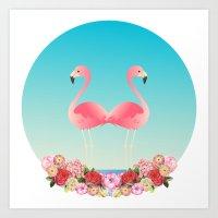 flamingos Art Prints featuring Flamingos by Juliana Zimmermann