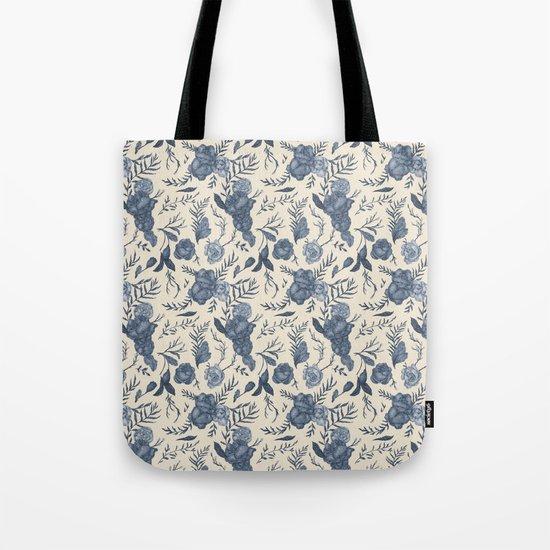 Blue Floral Pattern Tote Bag