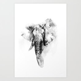 Black n White Painted elephant Art Print