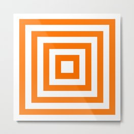 Orange and White Squares Metal Print