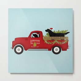 Black lab dog labrador christmas tree farm vintage red truck Metal Print