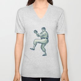 Baseball Pitcher Pitching Etching Unisex V-Neck