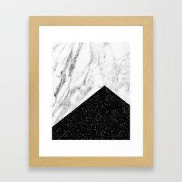 Ebony marble geo Framed Art Print