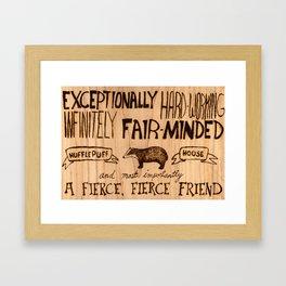 Hufflepuff House Wood Burning Framed Art Print