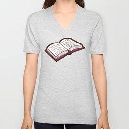 Reading Books pattern in Pink Unisex V-Neck
