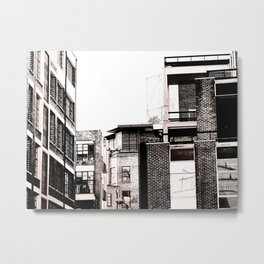 London Buildings, Black And White Architecture, Urban, Rustic Metal Print