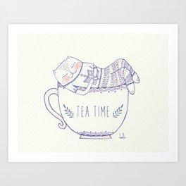 tea cat Art Print