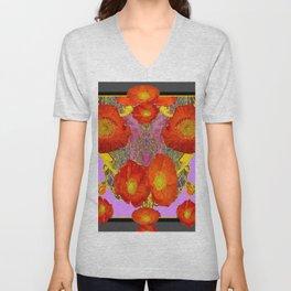 Modern Art  Orange Poppy Flowers & Lilac Color Grey Art Unisex V-Neck