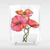 peach Shower Curtains featuring Peach & Pink Poppy Tangle by micklyn