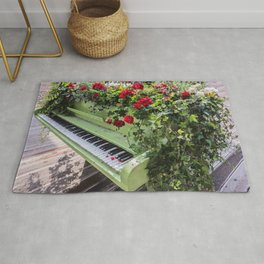Piano with Flowers Rug